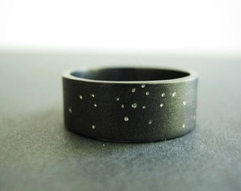 Uranus -  Starry Night, Rustic Ring, Unique Heavy Band - Wider Option- Sterling Silver- Choose WIDTH from 7mm - 12mm