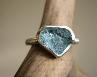 Rough Aquamarine Heart ring - Trillion -Triangle - Sterling silver - LAST ONE ! Valentines Gift