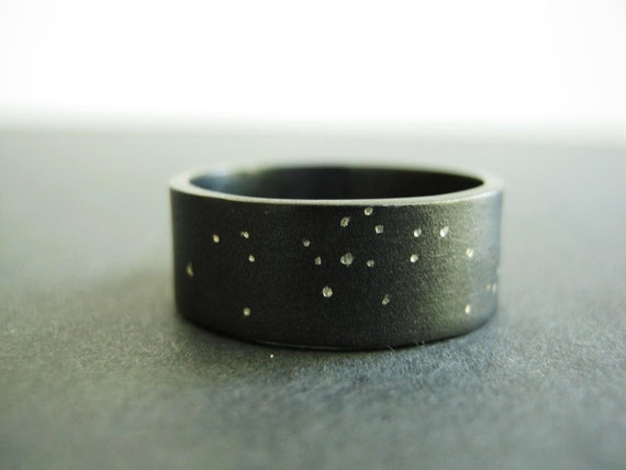 Uranus -  Starry Night, Rustic Wedding band, Unique Heavy Band - Wider Option- Sterling Silver- Choose WIDTH from 7mm - 12mm