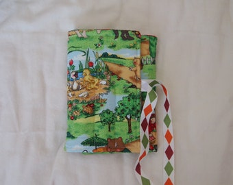 Handmade Crayon Travel Case Holder boys/girls, holds crayons and paper, bears