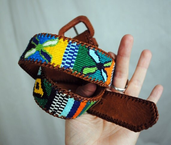 Vintage Leather and Guatemalan Rainbow Woven Fabric Belt