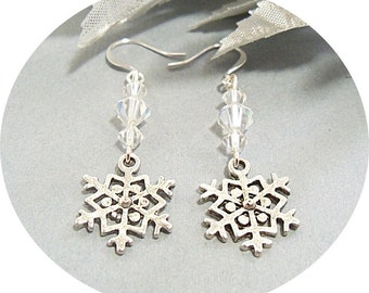 Snowflake Earrings, Snow Flake Earrings, Dangle Earrings, Snowflake Dangles, Snowflake Wedding, Holiday Earrings, Gift Exchange