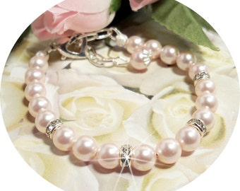 Pink Girls Pearl Bracelet, Rhinestone, Flower Girl, Pageant, Pink Pearls, Toddler Bracelet, Girls Bracelet, Pink Jewelry, Kids Jewelry