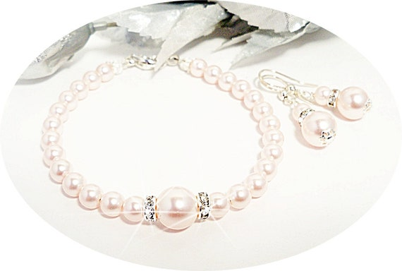 Pink Jewelry, Pearl Bracelet, Pink Earrings,  Bridesmaid Jewelry,  Pink Pearls, Wedding, Mother of the Bride, Bridal Accessories