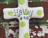 Personalized Ceramic Green Dot Cross makes Great Baptism Gift, Christening Gift, or Confirmation Gift