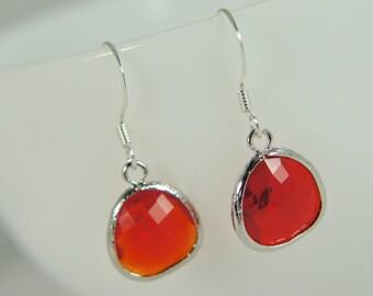 silver ruby earrings - glass earrings, drop earrings, everyday earrings