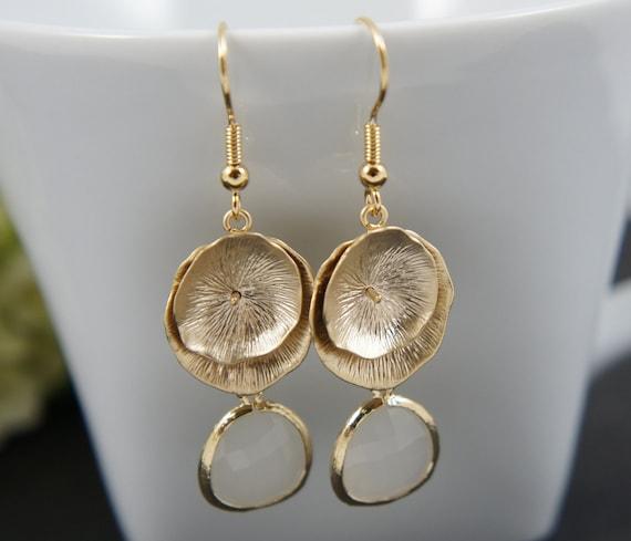 Gold petal earrings - with white gem, bridal, wedding, gift