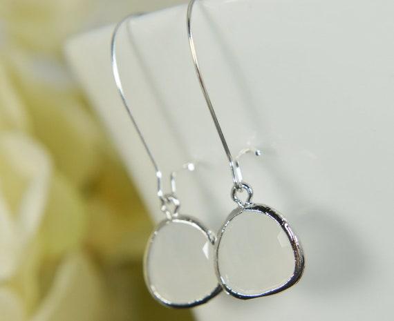 White gem silver earrings -  kidney ear wire, everyday earrings, silver framed earrings