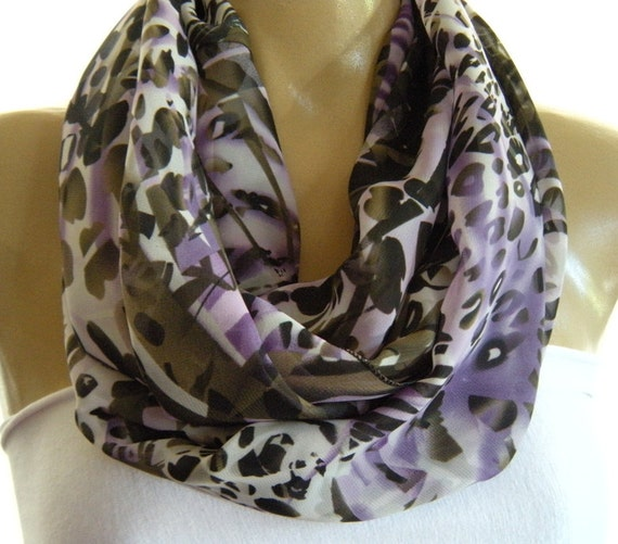 Botanic print chiffon infinity scarf  Purple and Olive,  Circle loop scarf Necklace Scarf-Instant gratification...