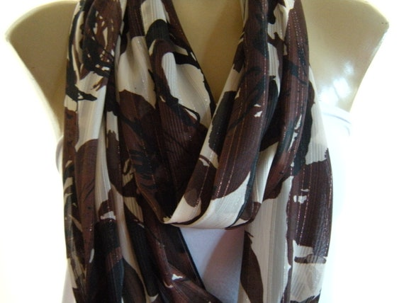 Last one...Exotic Beauty..Chocolate Brown..Black, Cream and Gold stripes.....Chiffon Necklace Scarf....Infinity Scarf...Euro Chic...