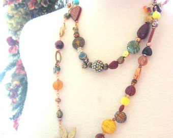 Long Beaded Holiday Party Festive Necklace - Vintage Beads, Charms, and Chain
