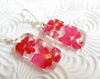 Pretty In Pink-Pink Verbena & Heather Pressed Flower Glass Rectangle Earrings-Gifts Under 30-Nature's Art-Symbolizes Enchantment, Admiration
