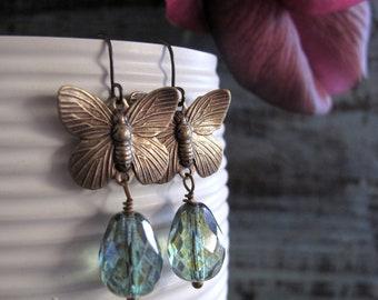 Brass Butterfly Earrings, Dangle Earrings Green Drops, Vintage Inspired Earring Butterflies - REVIVAL