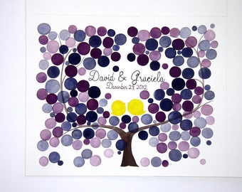 Aquarelle Guest Book Tree Alternative guestbook painting - Hand calligraphy for custom names date place