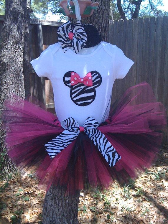Hot pink & Zebra Minnie tutu set