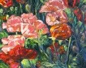 Original oil painting, impressionism poppy art,  abstract flower painting, flower landscape art, Christmas gift, Janice Trane Jones 12 x 12