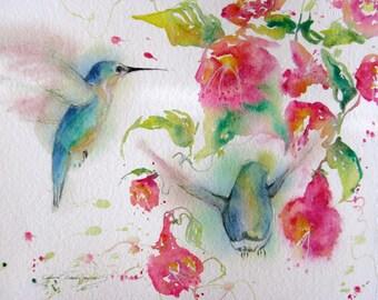 hummingbird art print, original watercolor painting, giclee abstract print, hummingbird trumpetvine art, bird painting, Janice Trane Jones