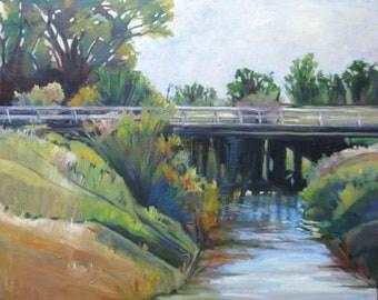 impressionism  Large landscape art, Original oil painting, bridge river tree painting, wall decor, impressionsim landscape,24 x 30