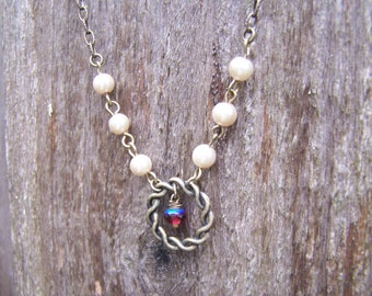 Antique Brass Chain Mocha Pearl Necklace