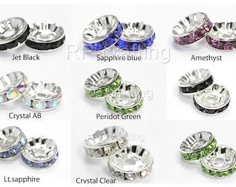 50 Rondelle Spacer Beads 5mm 6mm 8mm 10mm 12mm Sterling Silver over Copper Swarovski Crystal #CF3