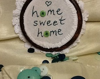 hand EMBROIDERED HOOP ART  home sweet home green buttons and heart picture