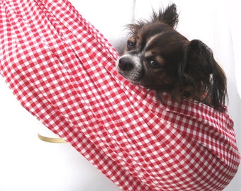 Pet Dog Sling Carrier-Red and White Gingham Cotton also available in black and white