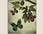 Butterfly Print Watercolor Art, Customizable, Summer Garden, Leaves, Green Nature Art 8 x 10 Print, Earthy - NaturesHeavenlyArt