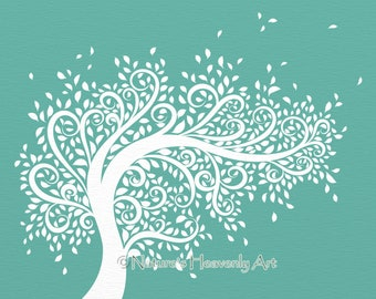 Blowing Tree Wall Art Living Room Print 8 x 10, Whimsical Wall Decor, Blowing Leaves (105)