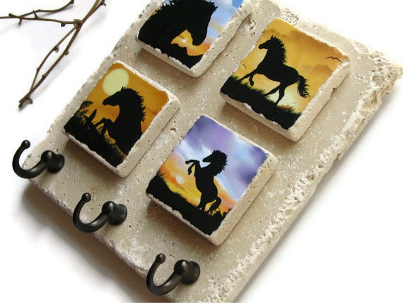 Horse Art Wall Key Holder, Colorful Sunset, Key Rack, Wall Hook Home Organizer, Animal Silhouette, Key Hook