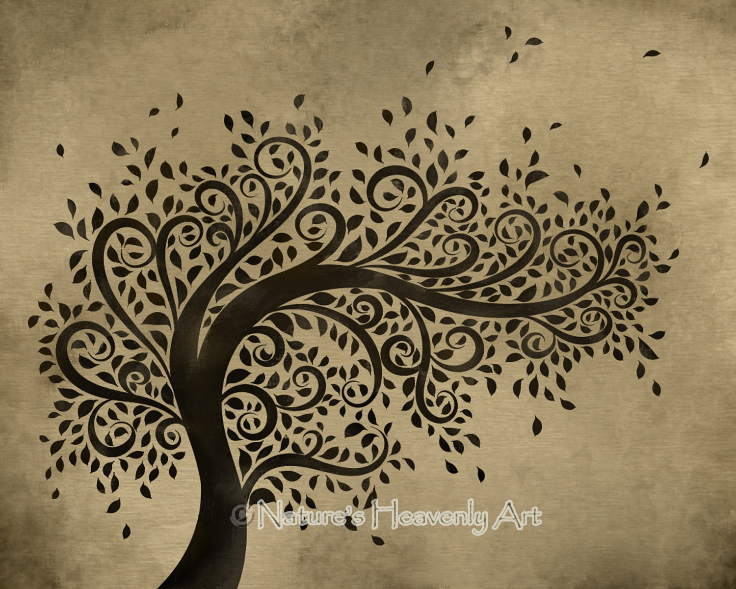 Whimsical Wall Art whimsical art tree wall print curly branches blowing leaves