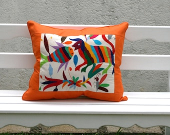 Was 109 now on clearance Orange Colored Otomi Pillow Sham Piece Framing and piping Ready to ship