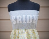 Pretty Little Thing  BRIDE To Be Dress-Yellow/grey Small/Med