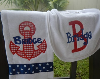 Personalized Anchor Baby Boy Monogrammed Bib and Burp Cloth Set Shower Gift Embroidered