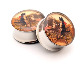 Vintage Cats on a Bike Picture Plugs gauges - 16g, 14g, 12g, 10g, 8g, 6g, 4g, 2g, 0g, 00g, 7/16, 1/2, 9/16, 5/8, 3/4, 7/8, 1 inch
