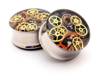 Steampunk Watch Parts Picture Plugs Style 9 gauges - 00g, 7/16, 1/2, 9/16, 5/8, 3/4, 7/8, 1 inch
