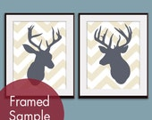 Deer Head Silhouette Chevron Series B - Set of 2 Art Prints (Featured in Cream and River Rock) Vintage Modern Decor
