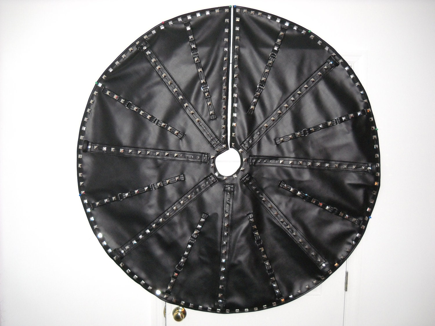 Harlequin delight black christmas tree skirt with metal studs