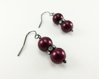 Dark Plum Earrings Dark Purple Dangle Earrings Black Plum Beaded Earrings Gunmetal Dark Silver Pearl Crystal