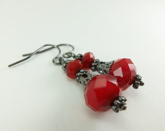 Red Earrings Beaded Jewelry Gunmetal Earrings Victorian Style Jewelry