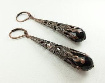 Black Dangle Copper Earrings Long Dangle Earrings Black Copper Steampunk Earrings Steampunk Jewelry Filigree