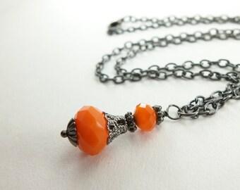 Beaded Orange Necklace Dark Silver Victorian Style Jewelry Gunmetal Necklace Beaded Jewerly Orange