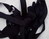 Pure Silk Ribbon  Black  Color 19mm 3/4 inch wide 5 yard Spool