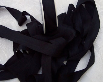Pure Silk Ribbon  Black  Color 19mm 3/4 inch wide 5 yard Spool