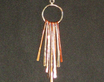 Sterling Silver and Copper Feather Necklace on Sterling Silver Chain