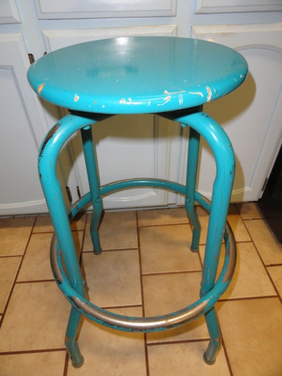 Vintage Industrial Stool Kitchen Shop Metal Turquoise Metal