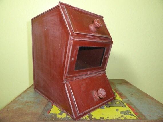 Vintage Candy Dispenser Store Tin Red Metal