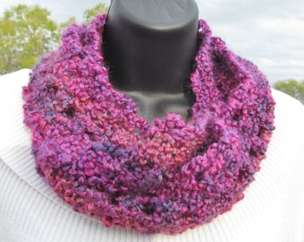 Colorful Hot Pink Multicolored - Endless Circle Loop Scarf - Next Day Shipping