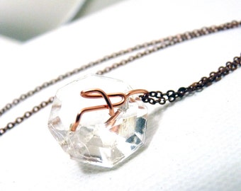 Letter A Crystal Initial Necklace- Copper - small- Upcycled antique chandelier prism pendant- Reclaimed Beauty