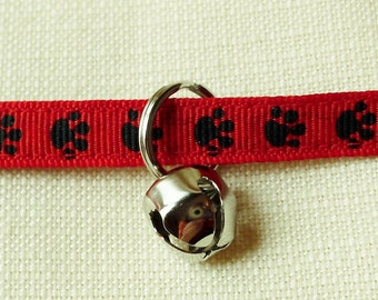 Cat or Small Dog Collar Red With Black Paw Prints