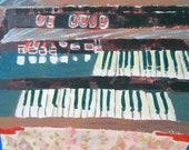 Blue Velvet - Keyboard organ player Original Painting - By Stacy Novak Art